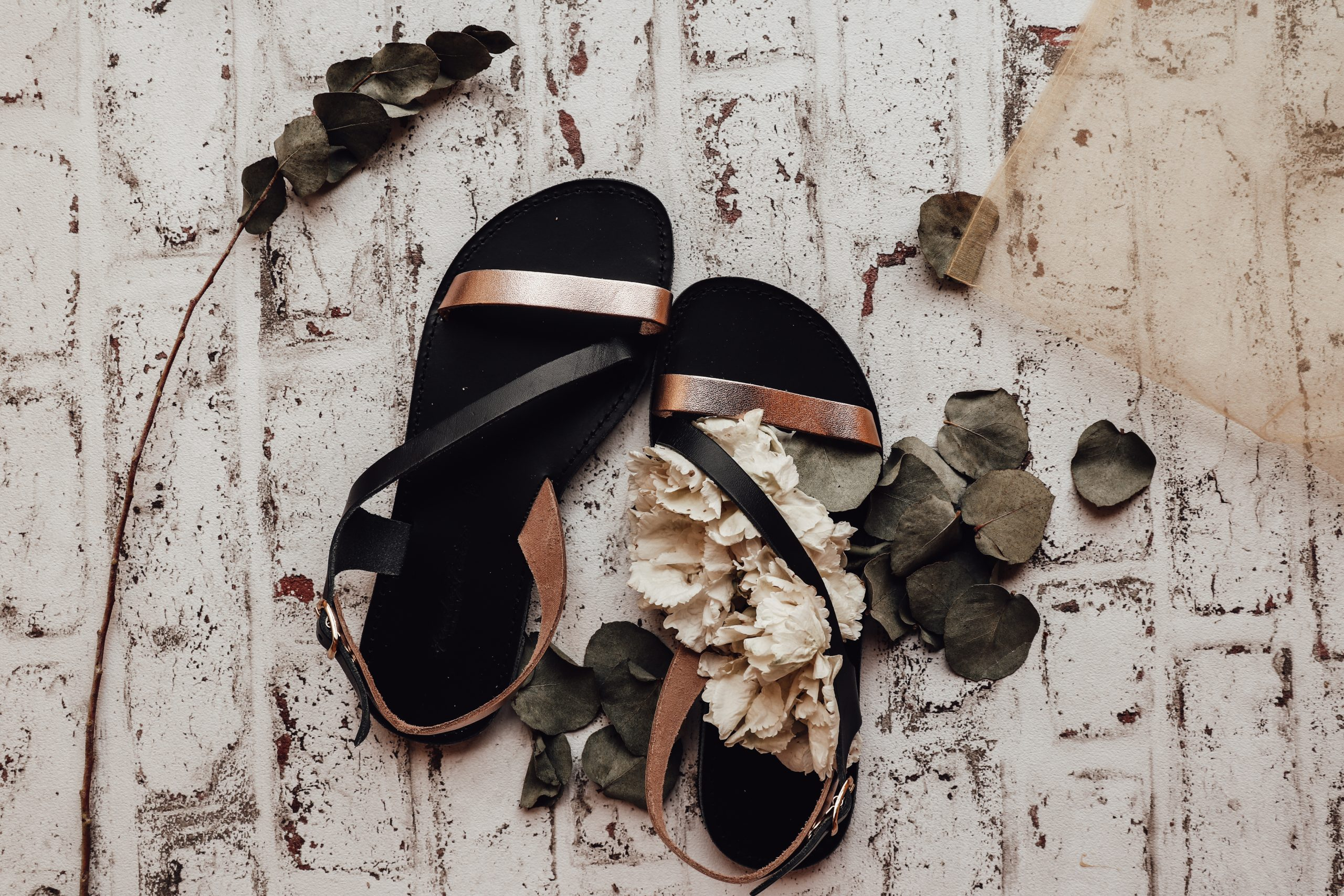FUNKY STRIPES women's genuine leather sandals, black