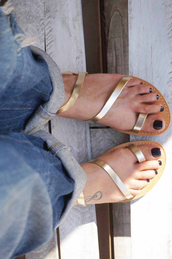 Women's FUNKY DAY genuine leather sandals, gold