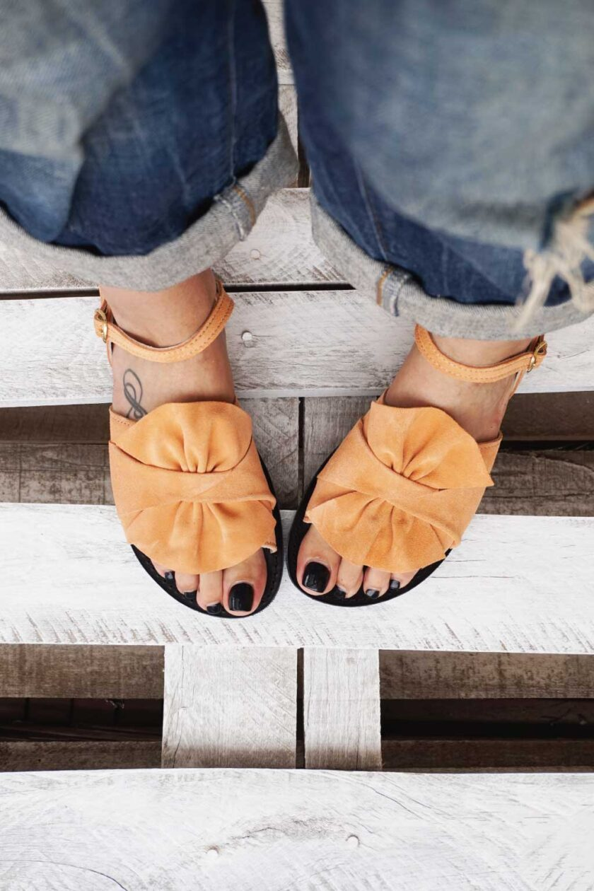 Women's natural leather sandals FUNKY B, nude - coral