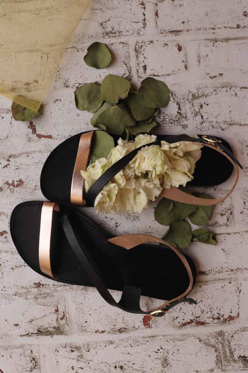 Sandale dama piele naturala FUNKY STRIPES, bronz - negru