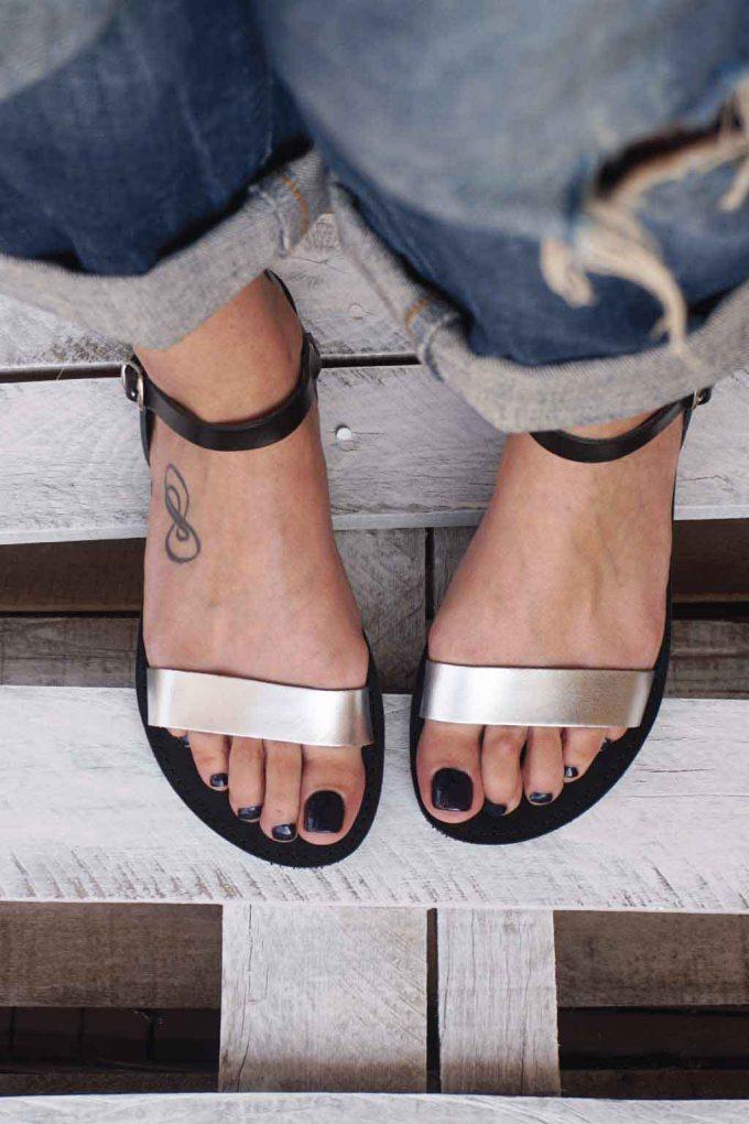 Sandale cu talpa joasa FUNKY CASUAL, argintiu - negru
