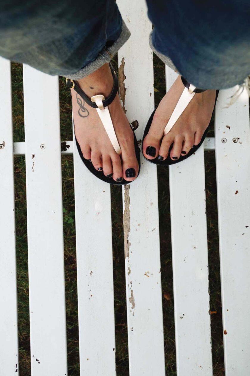 FUNKY ALLNUDE genuine leather low-heeled sandals, bronze