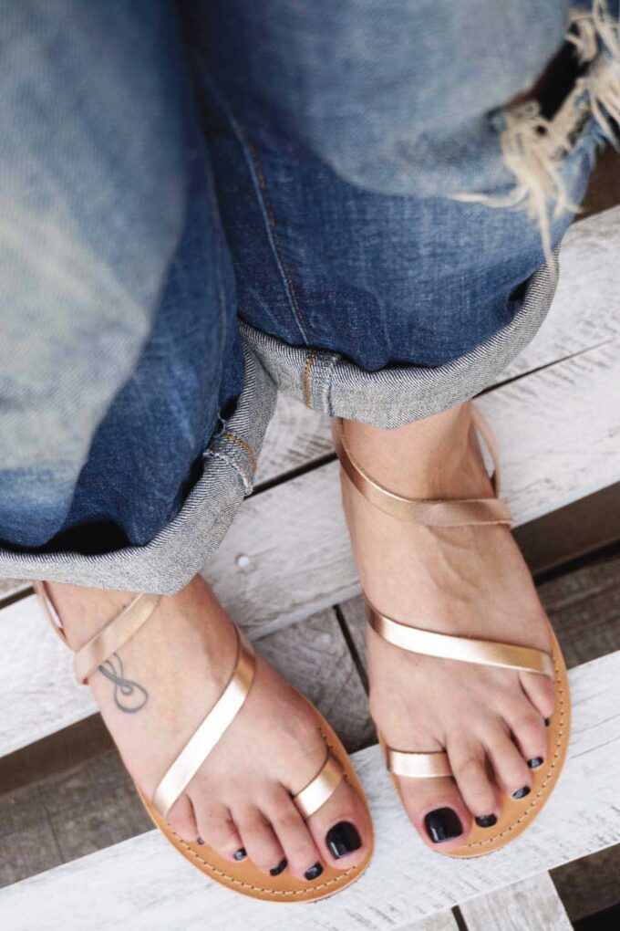 FUNKY DAY genuine leather low-heeled sandals, bronze