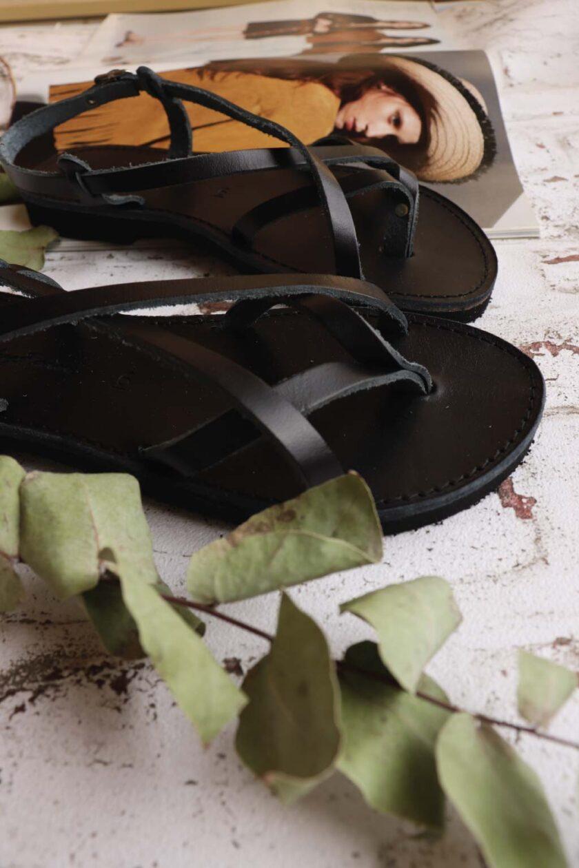 FUNKY FEELING women's genuine leather sandals, black
