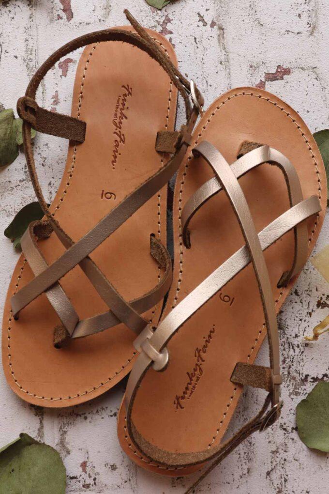 FUNKY FEELING women's genuine leather sandals, metallic gray