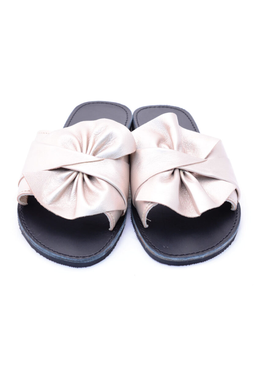 FUNKY INSTYLE women's genuine leather slippers, metallic gray