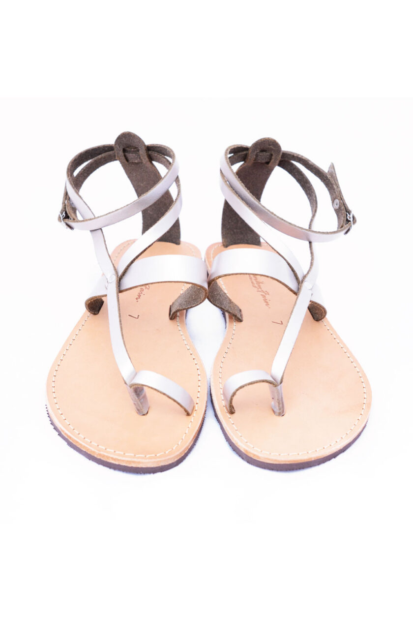 FUNKY TOUCH women's genuine leather sandals, metallic gray
