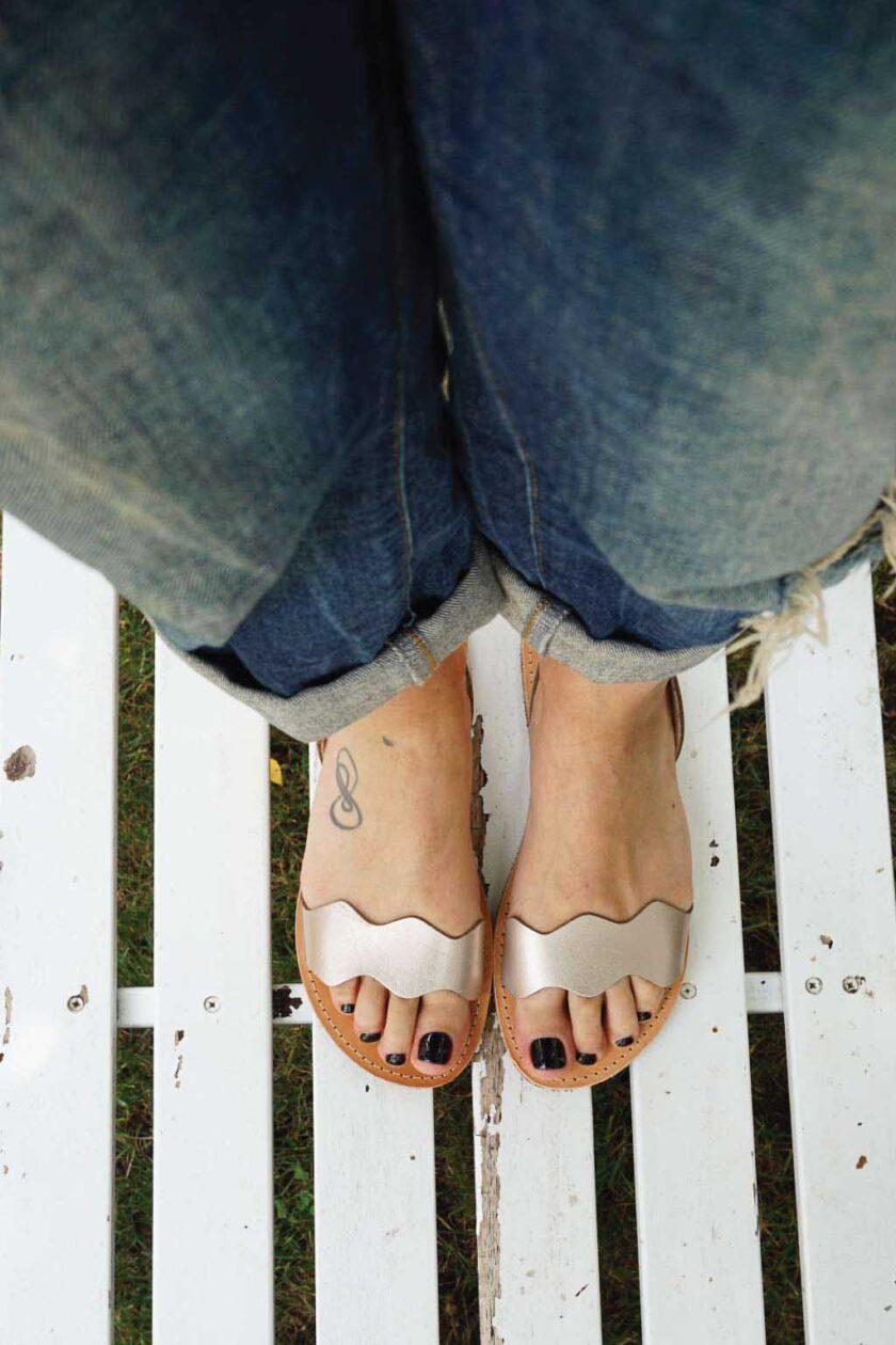 FUNKY VIBE women's genuine leather sandals, metallic gray