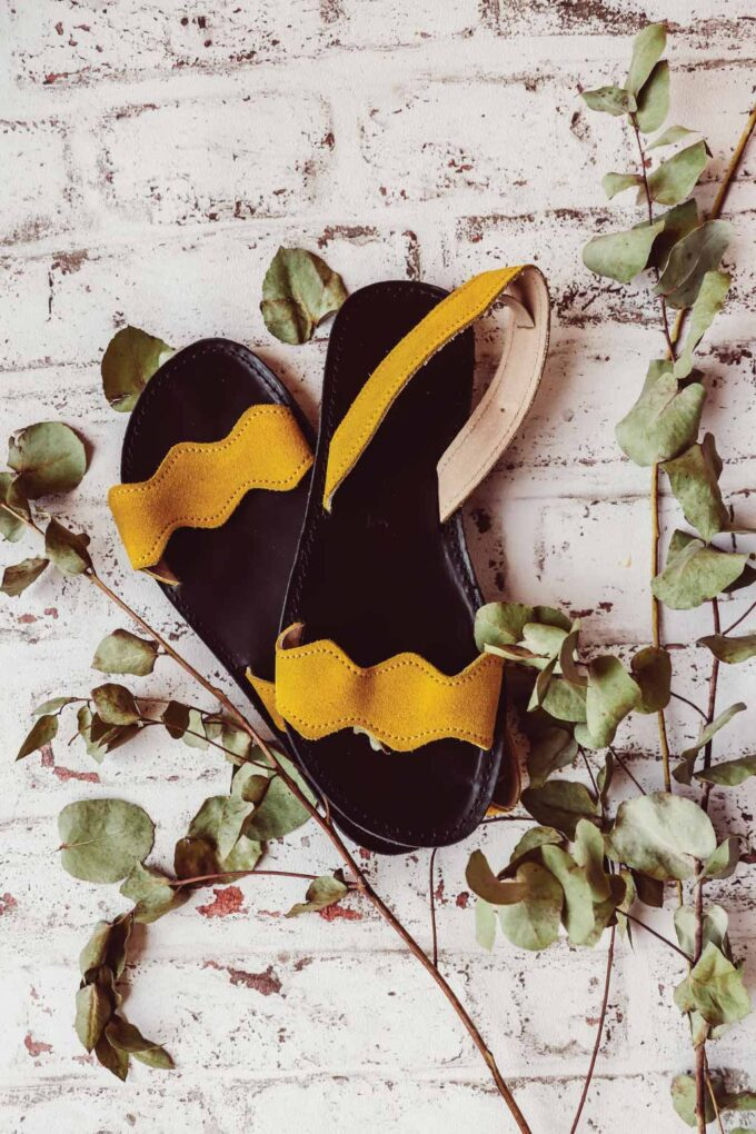 FUNKY VIBE women's genuine leather sandals, yellow