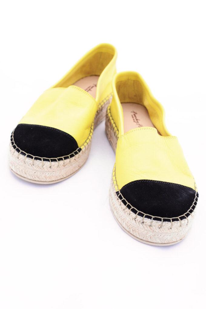 SO FUNKY genuine leather women's espadrilles, yellow