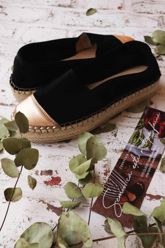 SO FUNKY women's genuine leather espadrilles, bronze - black