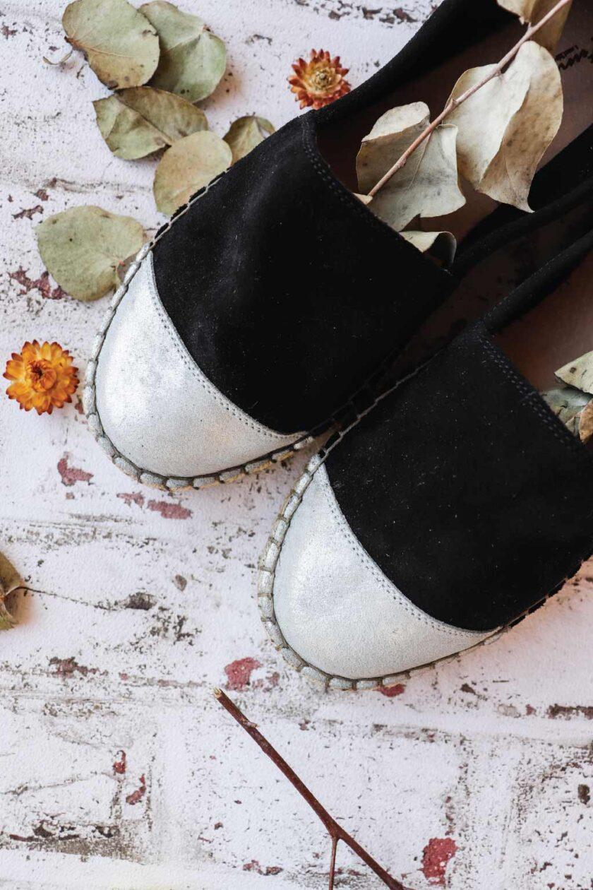 SO FUNKY women's genuine leather espadrilles, silver - black