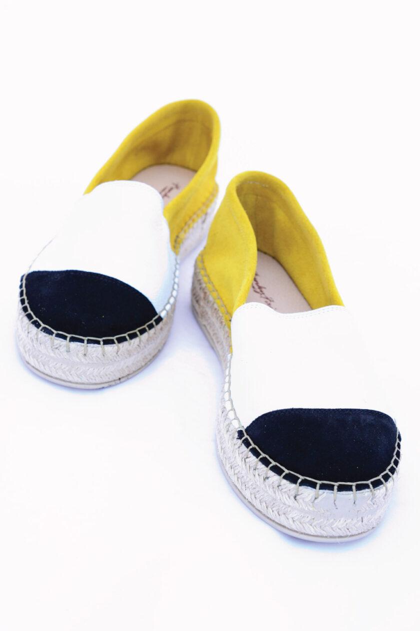 SO FUNKY women's genuine leather espadrilles, white - yellow