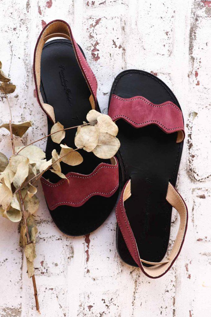 Sandale dama piele naturala FUNKY VIBE, visiniu