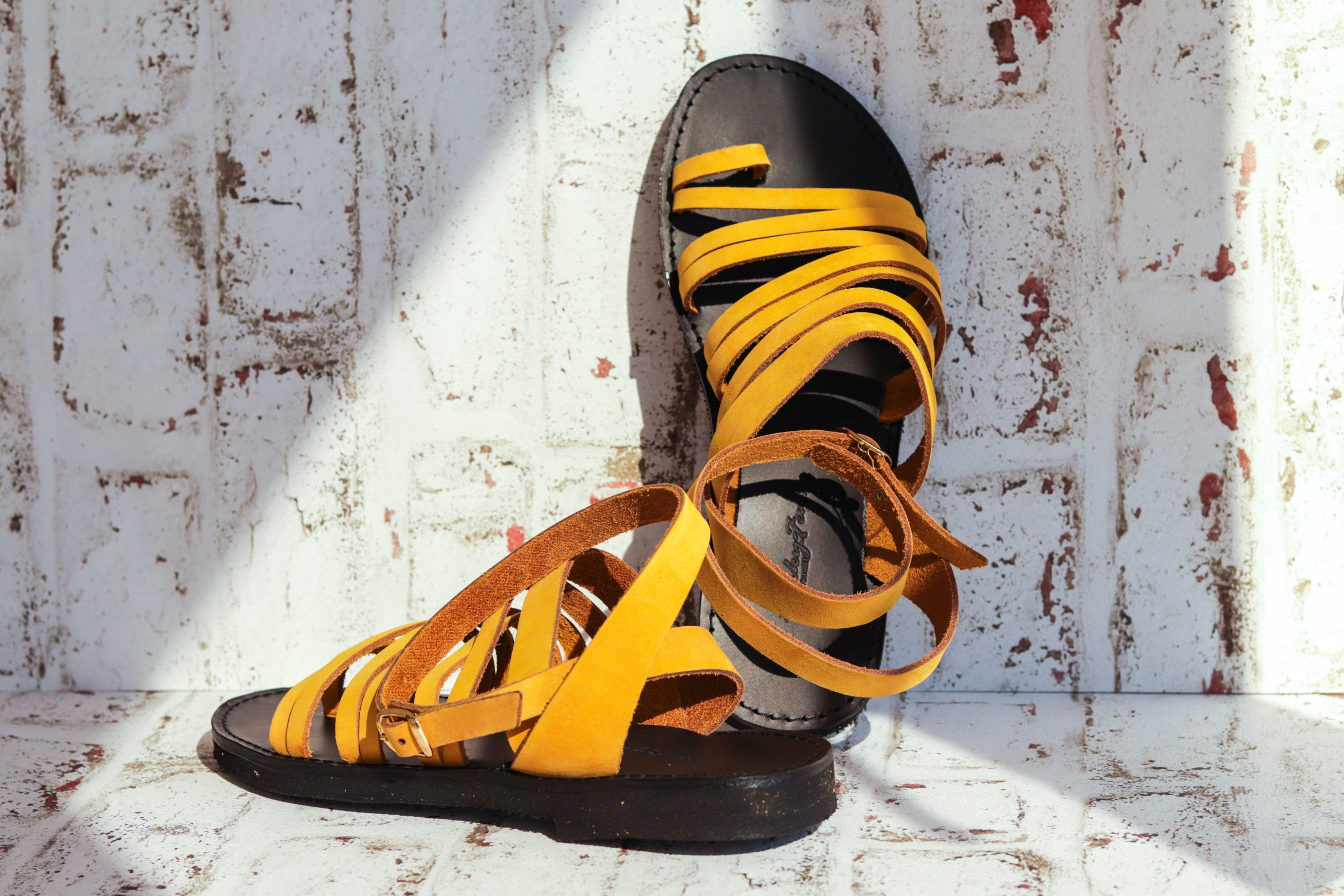 FUNKY FIT genuine leather sandals, yellow - mustard