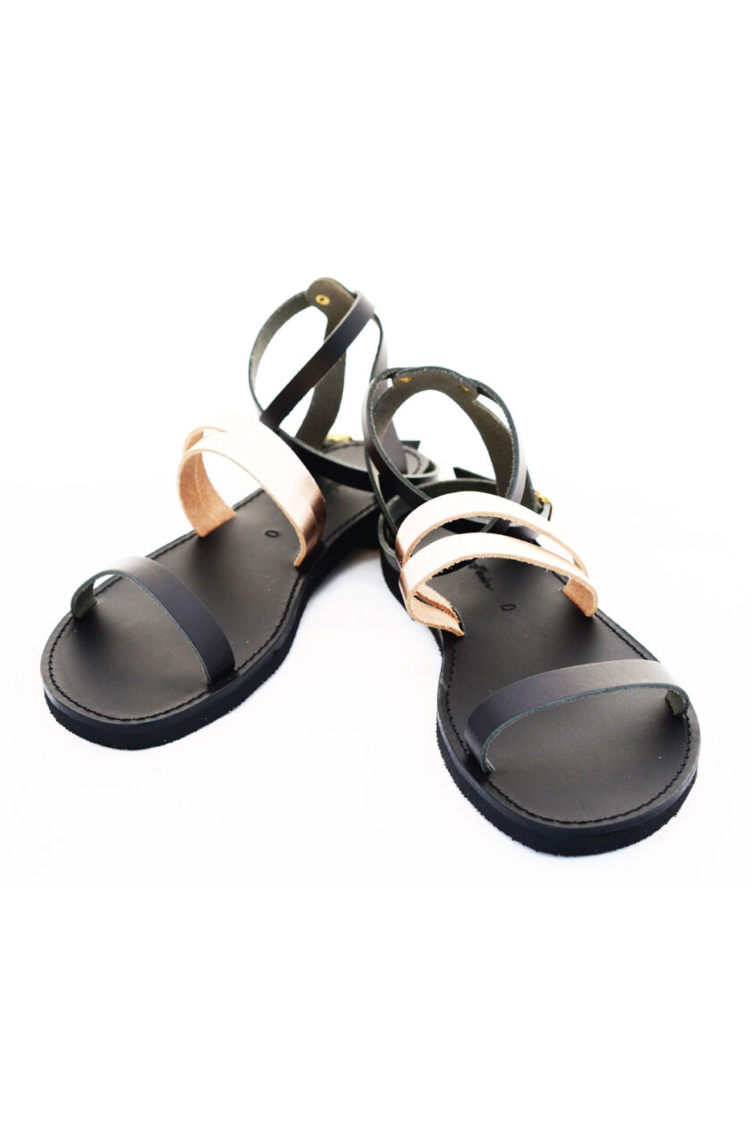 FUNKY GLAM natural leather sandals, bronze