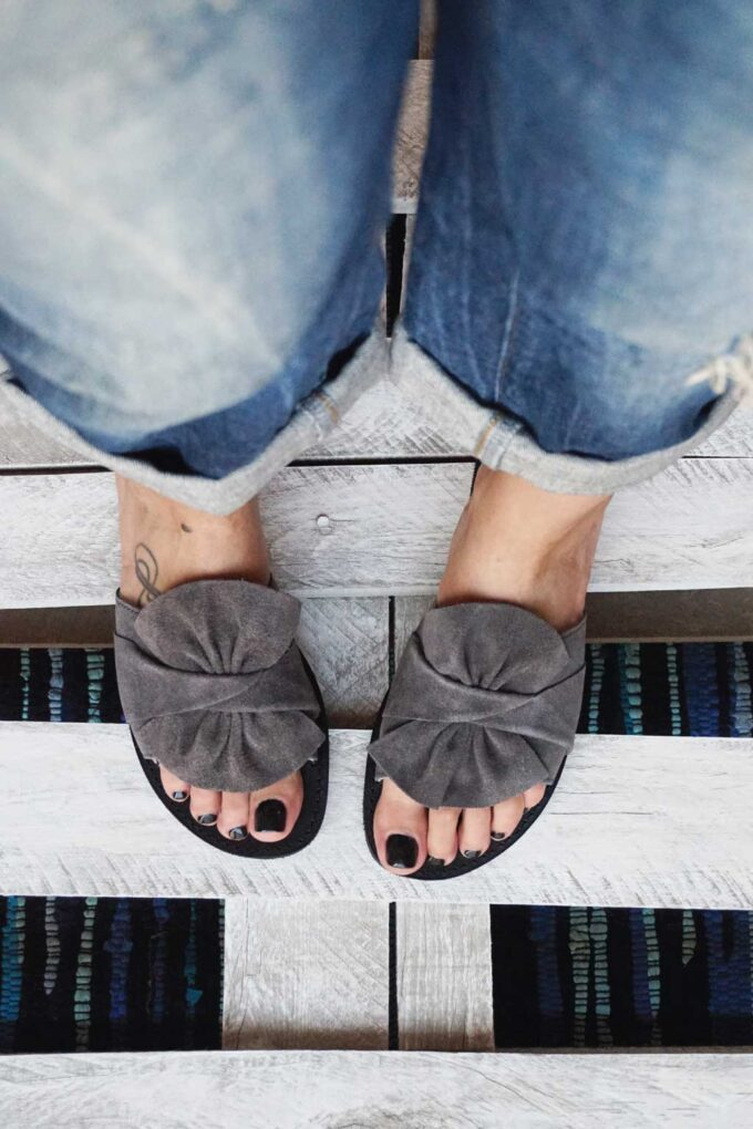FUNKY INSTYLE women's genuine leather slippers, gray