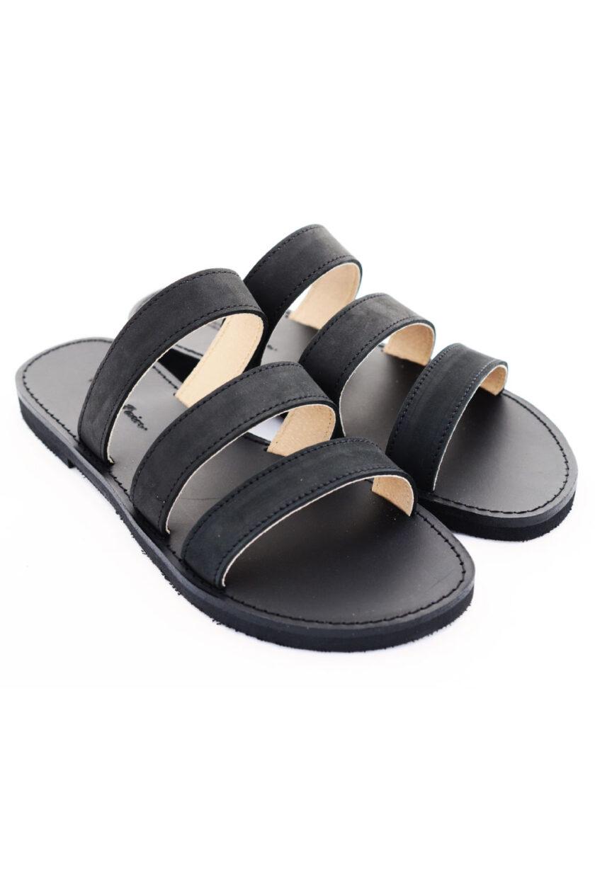 FUNKY MOOD genuine leather slippers, black