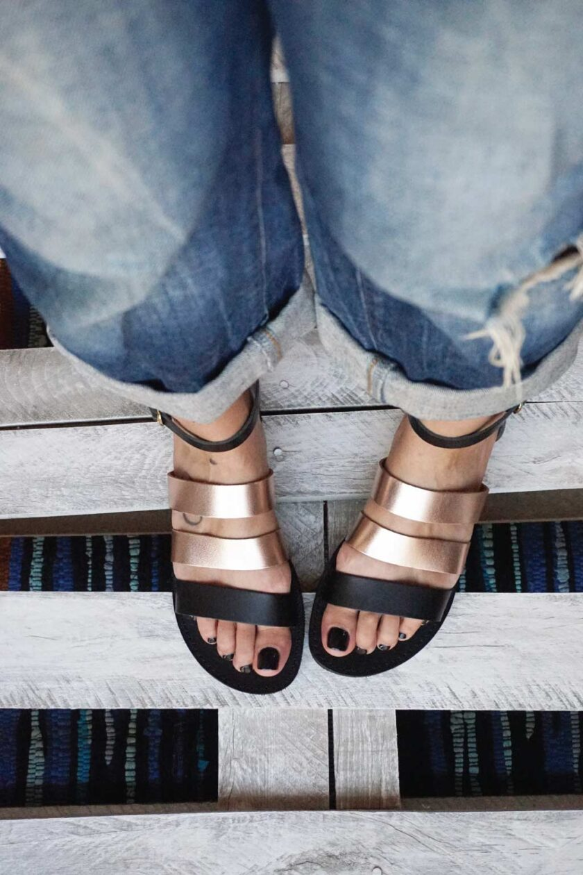 FUNKY MUM low-heeled sandals, bronze