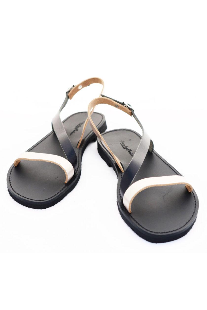 FUNKY STRIPES low-heeled sandals, metallic gray