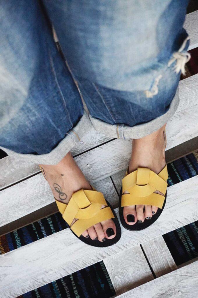 Women's sandals FUNKY CITY, yellow - mustard