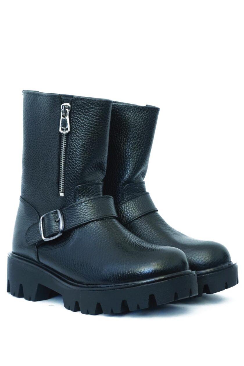 FUNKY BIKER women's leather boots, black
