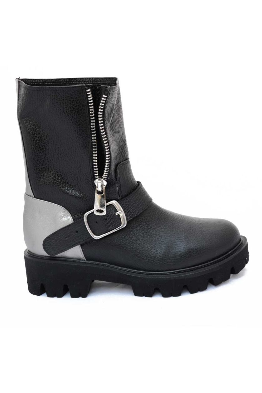 FUNKY GROOVE genuine leather biker boots, black - silver