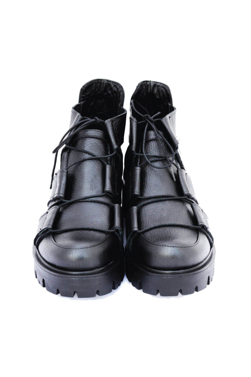 FUNKY JAZZ genuine leather cut boots, black