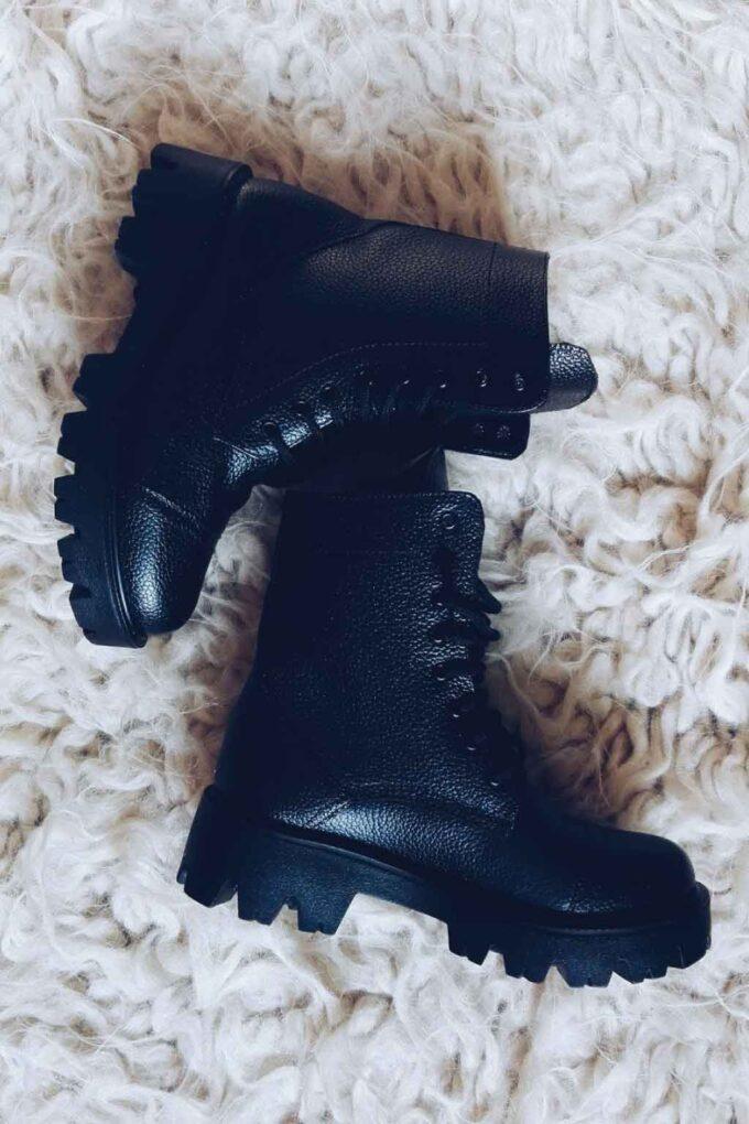 FUNKY ROCK genuine leather women's boots, black