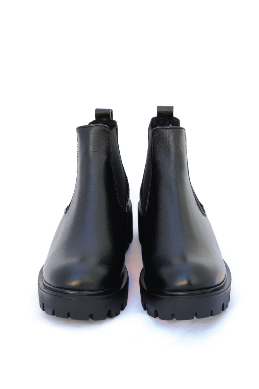 FUNKY YOU genuine leather short boots, black