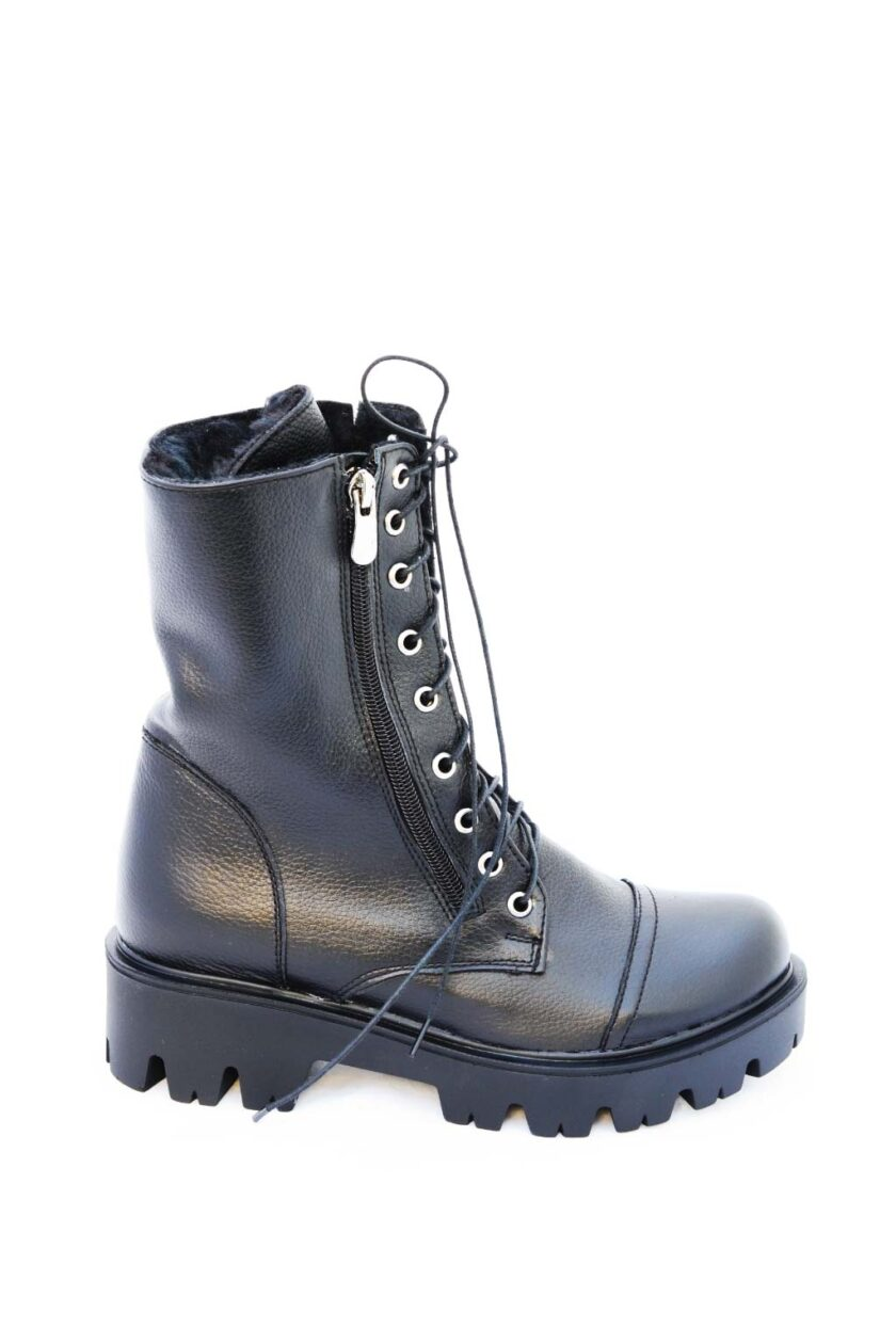 Genuine leather boots with FUNKY ROCK zippers, black