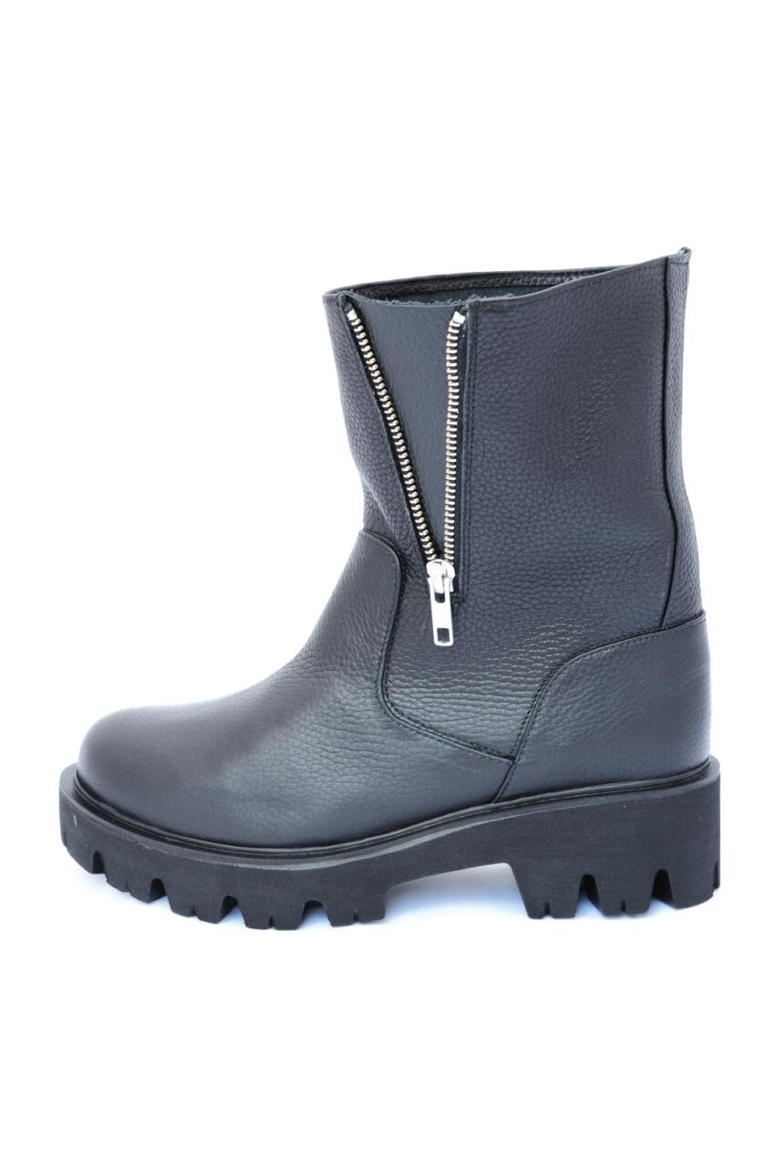 High boots in genuine leather FUNKY NEW BIKER, black