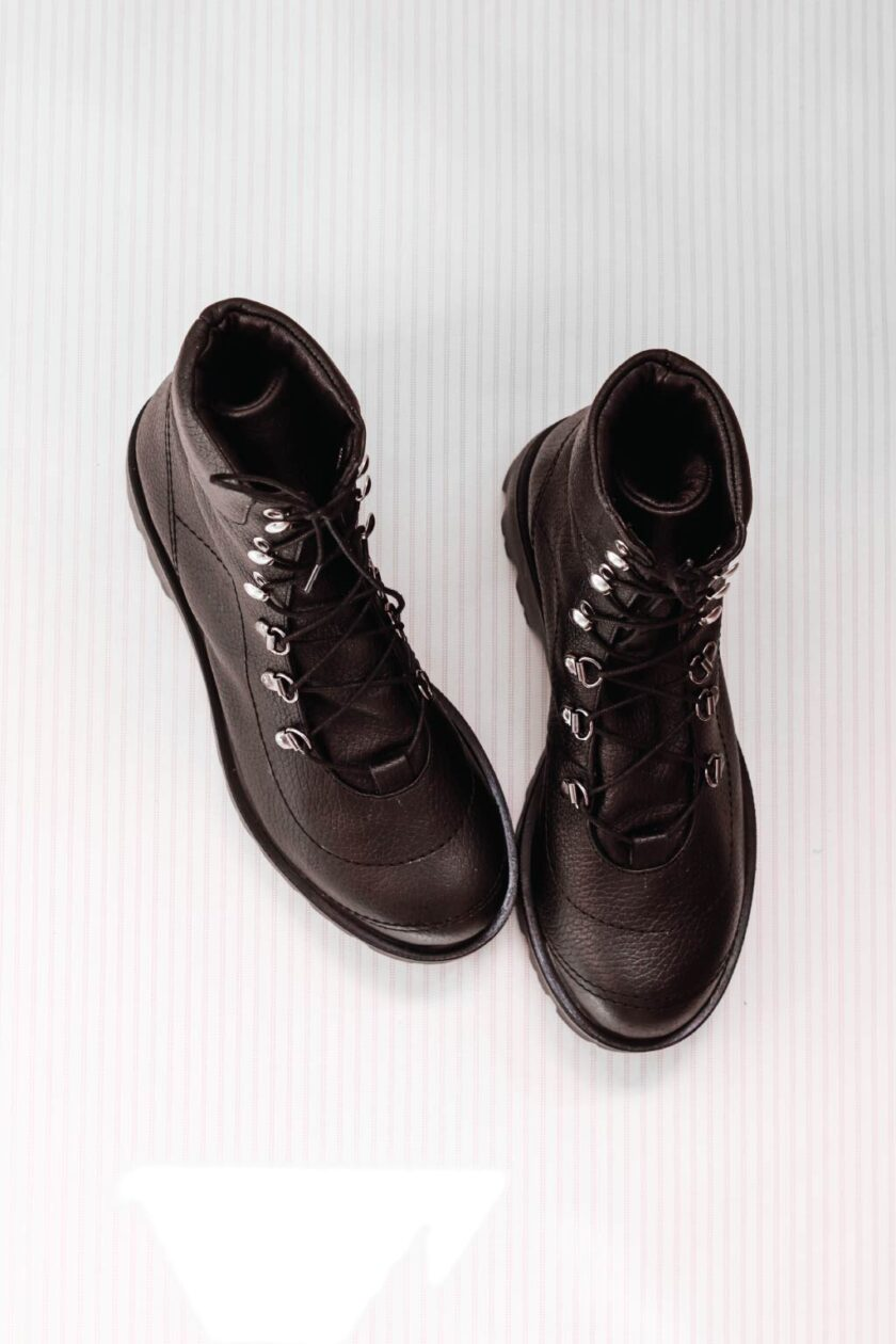 Women's black boots with decorative seams FUNKY CUT