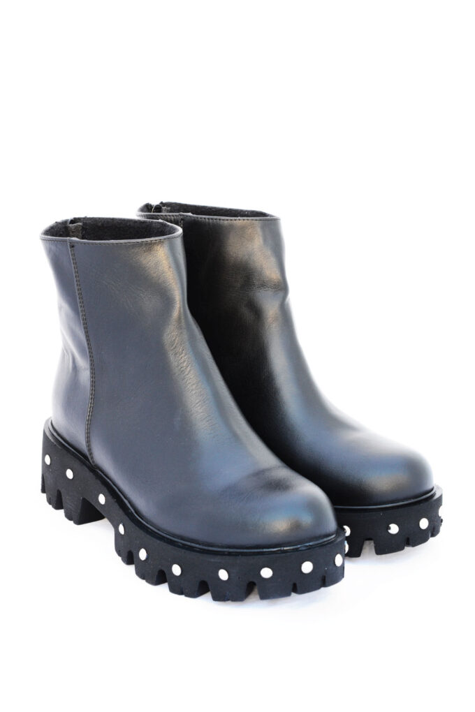 Women's black genuine leather boots FUNKY WAY