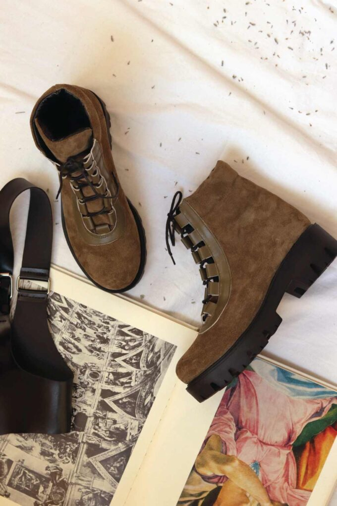 Women's boots with laces FUNKY SMART, khaki