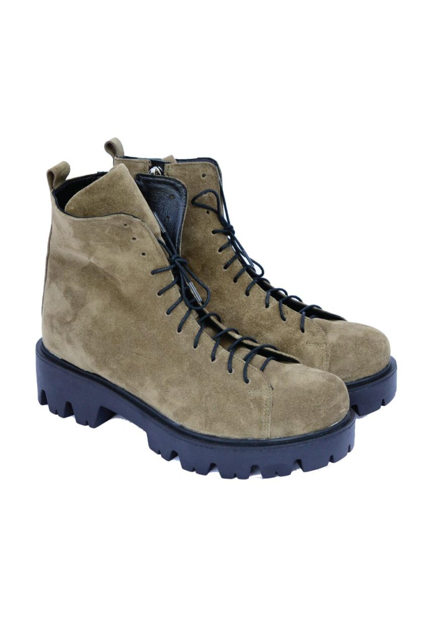 Women's boots with laces and zipper FUNKY DAYS, khaki