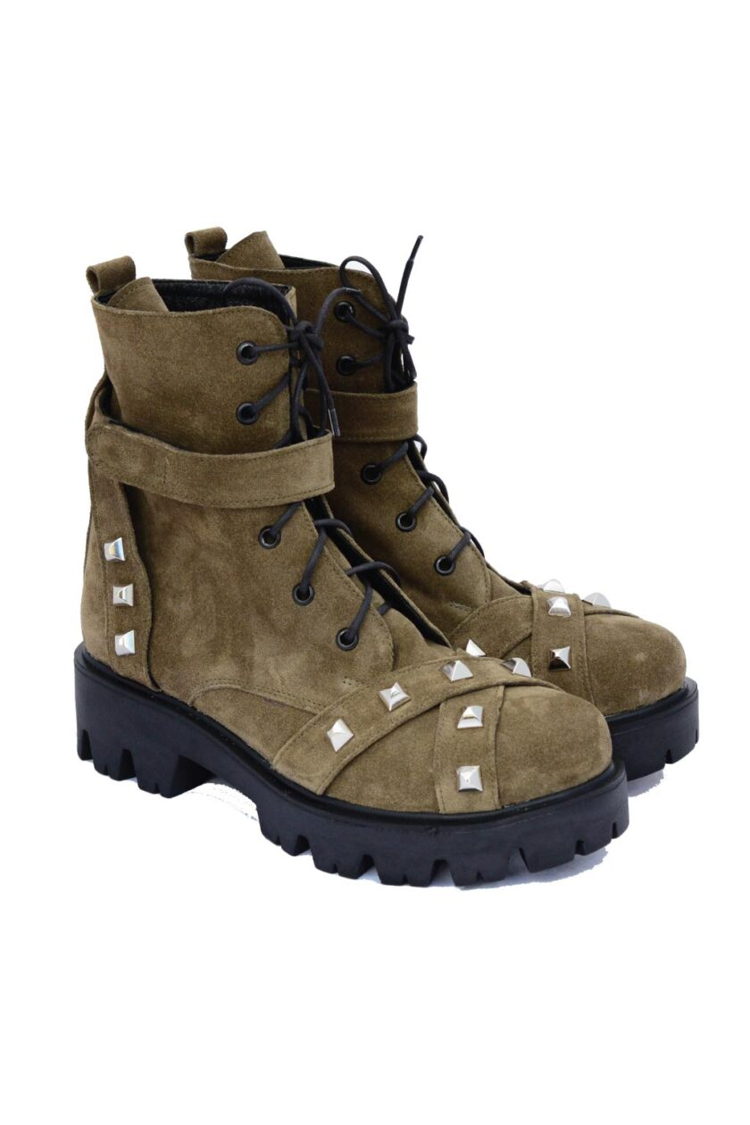 Women's high boots with targets FUNKY GIRL, khaki